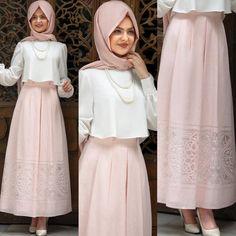 New dress hijab short ideas Arab Fashion, Islamic Fashion, Muslim Fashion, Fashion 2020, Modest Fashion Hijab, Skirt Fashion, Fashion Dresses, Modern Hijab Fashion, Hijab Evening Dress