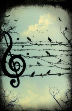 Kind of pretty. The barb wire is maybe a bit too pretend-hard core. Music art for piano room.