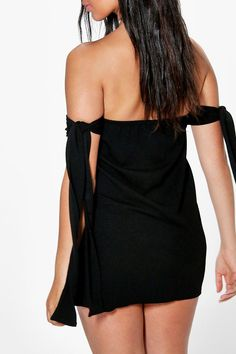 Mimi Tie Detail Off The Shoulder Dress Off The Shoulder, Shoulder Dress, Dress Collection, Dresses For Sale, Boohoo, Tie, Detail, Shopping, Black