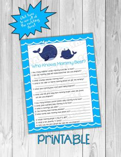 Whale Baby shower games who knows mommy best Printable whale