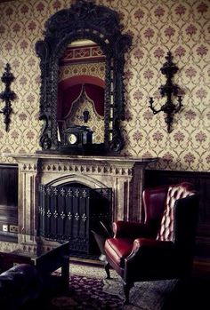Gothic Interiors, with rich upholstered leather furniture and ornate mirrors. The gold and red is a common colour within this style