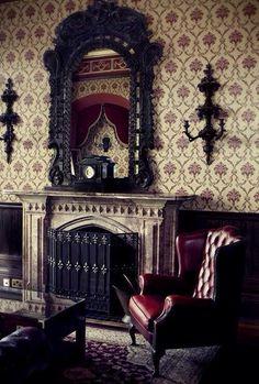 Classic bit of gothic interior design. Reminds me of Sherlock set!