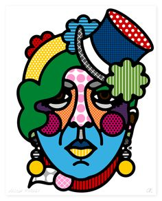 It is undoubtedly fascinating to emerge in the beautiful celebrity portraits work of Craig Redman of the NY graphic design duo Craig & Karl. The series, Guise and Protagonist, were designed for a Illustrations, Illustration Art, Anna Piaggi, Craig And Karl, Abstract Face Art, Celebrity Portraits, Arte Popular, Art Plastique, Bold Colors