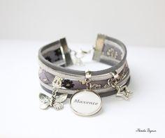 Bracelet liberty gris médaille prénom texte personnalisable - papillon étoile - création personnalisée : Bracelet par nemeti