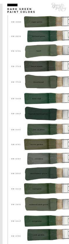 My Favorite Green Paint Colors - Room for Tuesday - - In honor of St. Patrick's Day this weekend, I'm sharing my favorite green paint colors. Whether you're painting a wall or furniture, save these swatches! Green Paint Colors, Paint Colors For Home, Wall Colors, House Colors, Gold Colour, Armoire Rose, Bedroom Dressers, Bedroom Furniture, Furniture Ideas