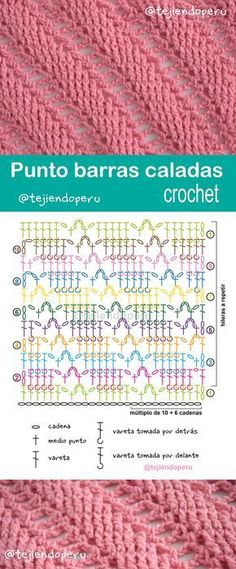 Punto barras caladas diagonales tejido a crochet.... paso a paso con video tutorial :)