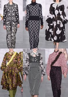 10-holly-fulton-aw1617 - Stylised Paisley Tile Prints – Strong Monochromatics – Ruched Paisley Shapes – Tear Drop Paisley Allovers – Simple Graphic Pattern – Reverse Black and White – Contrasting Pattern Plays – Paisley Foulards