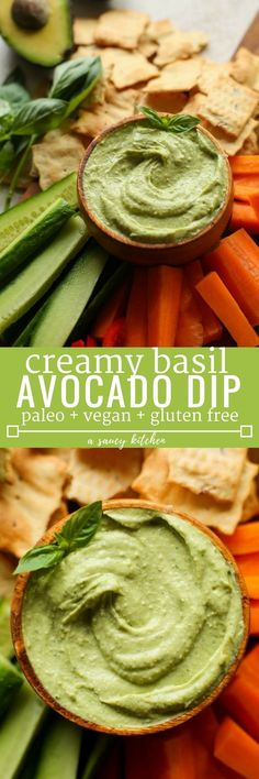 Creamy Basil Avocado Dip made with avocado, lemon juice, garlic, tahini, sea salt & fresh basil. | Gluten Free + Vegan + Paleo