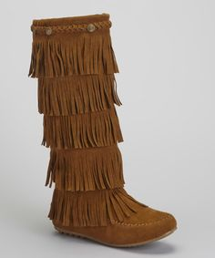 Loving this Tan Button Fringe Boot on #zulily! #zulilyfinds