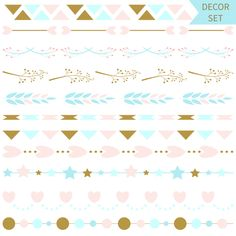 Set of vector romantic vector line borders and dividers ,design elements. Vector illustration.  eps, jpg, instant download by annakristal on Etsy