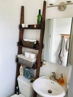 Toilet Ladder Shelf Rack In 2019 Bathroom Toilet Shelves Zen Bathroom, Rustic Bathroom Decor, Rustic Bathrooms, Bathroom Shelves, Bathroom Storage, Bathroom Ideas, Small Bathroom Table, Bathroom Ladder, Toilet Shelves