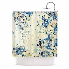 """Ebi Emporium """"And It's Up She Goes"""" Blue Cream Shower Curtain"""