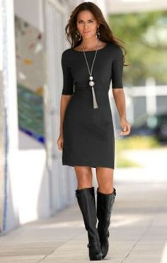 above knee black Dress and black boots - love this look. now only if I was taller  skinner I could pull it off
