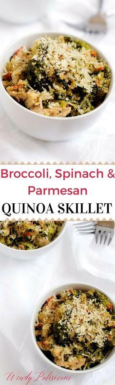 Broccoli, Spinach, Parmesan Quinoa Skillet (GF, Vegetarian Option) via #quinoa #glutenfree #skilletrecipes