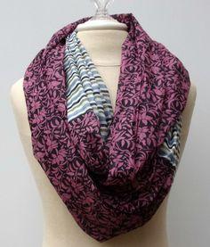 Cotton Infinity Loop block ethnic print scarf by PurpleSageDesignz