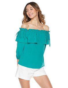 8c17f234d72b2f Plumberry Superunion Women s Off Shoulder Woven Ruffle Blouse with Tie  Decoration X-Small Green