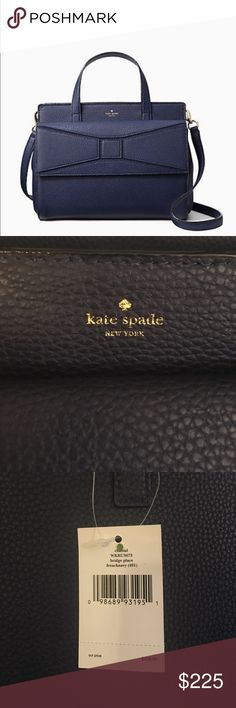 "Kate Spade Satchel in French Navy Chantal Bridge Place in French Navy                             Pebbled leather with polished hardware  Custom fabric lined interior with zippered pocket and two open slip pockets  Button snap closure  Kate Spade  logo on the front  Dual handles with a drop of 4.5"", or use the removable shoulder / cross-body strap 16""  exterior snap pocket  Measures approximately 12"" (L) x 9"" (H) x 5.5"" (W).                    No dust cover bag. Will package carefully when…"