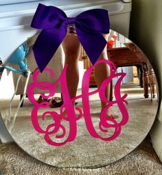 monogrammed mirror wall decal with bow, pretty!