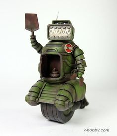 ABC Warriors Ro Jaws figure.  (Roy's Comment: Ro-Jaws is my favourite robot from Starlord and 2000AD. Here he is - apparently working as an autonomous pooper-scooper.)