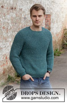 Knitted sweater with raglan for men in DROPS Sky. Piece is knitted top down with English rib. Size: S - XXXL Mens Knit Sweater Pattern, Jumper Patterns, Sweater Knitting Patterns, Sweater Design, Knitting Designs, Free Knitting, Men Sweater, Finger Knitting, Knitting Machine