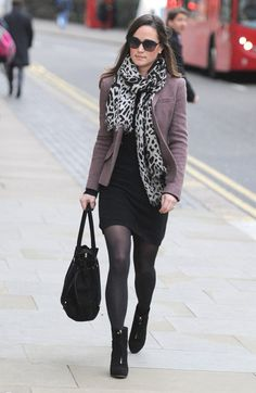 Pippa wears her ankle boots with a skirt for work