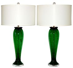 Vintage Murano Glass Table Lamps - c 1950s - Ist Dibs