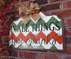 Thanksgiving sign, fall sign, fall porch, thanksgiving porch In All Things Give Thanks Door Hanger Sign by Sparkled Whimsy