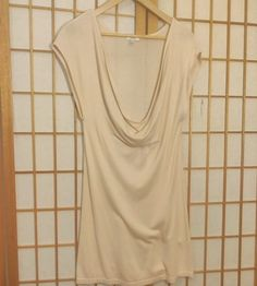 4086af62d7bf22 Cache  Long Top Shirt Size Small Cream White Cowl Neck Cap Sleeve Bamboo   Cach  Pullover  Casual