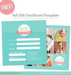 Free Gift Card Template for Photographers Photoshop www.hazyskiesdesigns.com