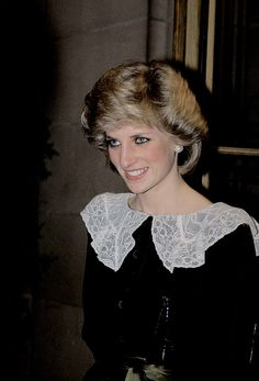 """""""The Princess of Wales attends a Carol Concert in aid of The Malcolm Sargent Cancer Fund for Children at The Free Trade Hall on December 20, 1983."""""""