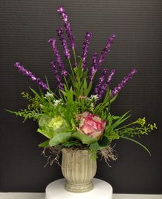 Spring Season 2014 Floral: Pink, Fuschia and Green Cabbages, Lavender blades with wild grass and ferns on pale mint green ceramic pot. Design and Arrangement by http://nfmdesign.synthasite.com/