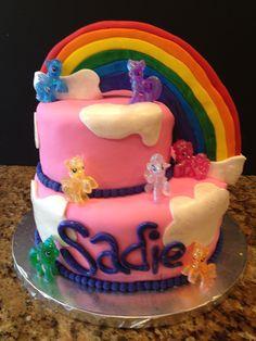 My little Pony cake (with toy ponies)