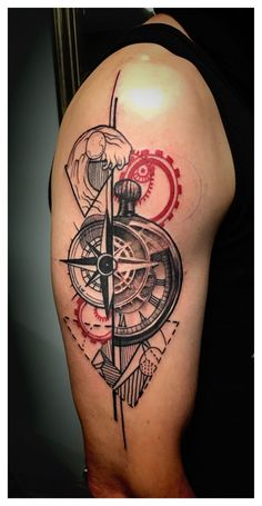 Tattoo realized by Dime Reck, compass, clock, elements Hand Tattoos, Cool Forearm Tattoos, Feather Tattoos, Body Art Tattoos, Sleeve Tattoos, Tatoo Compass, Compass Tattoo Design, Tatuaje Trash Polka, Illuminati Tattoo