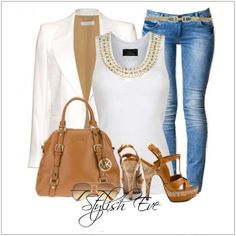 CHATA'S DAILY TIP: Stylish studs! Studs and sequins are so fashionable – these embellishments, so perfectly, add the element of interest. A white tailored jacket, worn with a smart white T-shirt, or silk shirt and jeans, is a fabulous Casual-Friday choice. Stylish accessories, in either stone or gold, complete this beautiful ensemble. COPY CREDIT: Chata Romano Image Consultant, Wendy Hind http://chataromano.com/consultant/wendy-hind-2/ IMAGE CREDIT: Stylish Guru's Facebook page