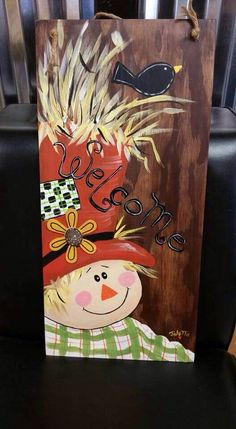 Fall Canvas Painting Ideas New Fall Paintings Canvas Fall Scarecrows, Halloween Scarecrow, Fall Halloween, Halloween Crafts, Holiday Crafts, Halloween Ideas, Scarecrow Crafts, Halloween Stuff, Vintage Halloween
