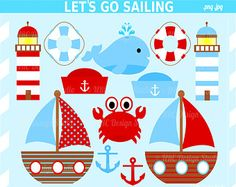Summer Nautical Clip Art - Let's Go Sailing Clip Art - Digital Sailing Clipart - Nautical Clipart - Boat, Crab, Anchor, Lighthouse, Whale