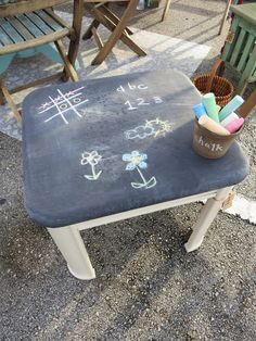 stellar junk  End Table Chalk Paint! great for a writing center to practice writing sight words