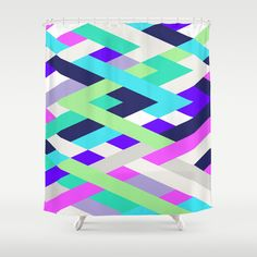Smart Diagonals Radiant Orchid Shower Curtain by House Of Jennifer - $68.00