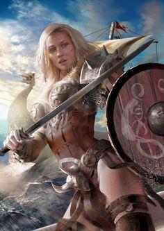 Pin on Fantasy art Fantasy Warrior, Fantasy Girl, Fantasy Art Women, Dark Fantasy Art, Fantasy Artwork, Fantasy Character Design, Character Art, Fantasy Kunst Krieger, Shield Maiden