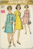 An original ca. 1970 Simplicity Pattern 8692.  Misses' and Women's Dress and Jacket: The dress V. 1 & 2 with front princess seaming has back zipper, high round neckline and short set-in sleeves. The lined jacket V. 1 with front princess seaming and front button closing has below-elbow length set-in sleeves, collar and flaps.