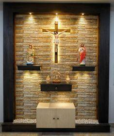 Tv Wall Design, House Design, Home Altar Catholic, Feature Wall Living Room, Altar Design, Pooja Room Design, Luxury Bedroom Design, Puja Room, Prayer Room