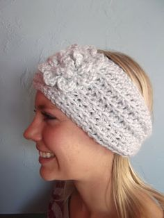 Apple Blossom Dreams - Crochet(Hekling) Icy Blue Ear Warmer