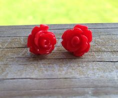 10mm Red Resin Flower Earrings with Titanium Nickel by glamMKE, $6.00