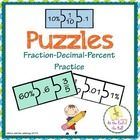 A total of 16 sets of fraction-decimal-percent conversion puzzles in black and white and color. Students can practice with the color version first as they are begin to learn how to convert fractions into decimals and percents and vice versa, then switch to the black and white puzzles.