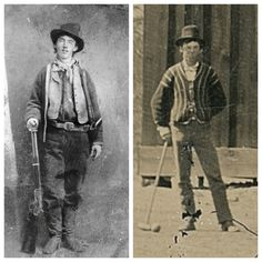 The only two authenticated tintypes of William H. Bonney, Billy the Kid. William H Bonney, Old West Outlaws, Hatfields And Mccoys, Old West Photos, Cowboy Pictures, Billy The Kids, West Art, Bonnie N Clyde, Le Far West
