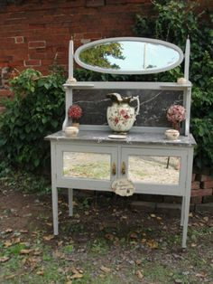 antique, shabby chic wash stand with marbel top and back
