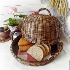 Купить Бабушкина хлебница плетеная - хлебница, плетеная хлебница, хлебница-клош, круглая, деревенская