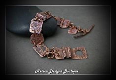 Fire~ Flame Patina Fold Formed Copper Metalwork Artisan Bracelet by AztecaDesignsBoutique, $69.00 USD