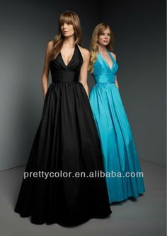 bridemaid dress a line floor length long halter top satin aqua red wine peacock coral black v neckline pleat