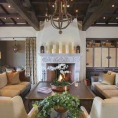 Spanish Colonial-Style Home - Phoenix Home & Garden Love the candle styling,ceilings, and fireplace